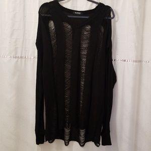 Black oversized distressed sheer sweater xxl💋💋💋